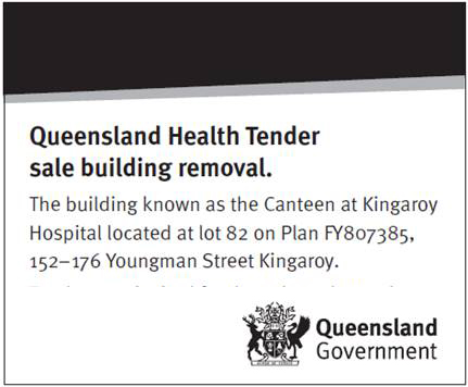 Queensland Health Tender sale building removal