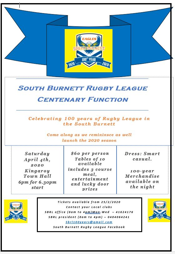 POSTPONED: South Burnett Rugby League Centenary Function