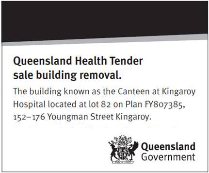 Queensland Health Tender sale building removal